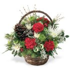 Edmonton Florist,  Holiday Basket filled with long lasting Blooms, ornaments, Cones, Greens ,Bow/NW10