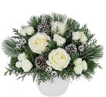 Edmonton Florist, Country Style White Holiday -Roses, Daisy, Cones ,Pine,Fir,Cedar in Container/NW6