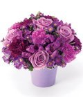 Edmonton Florist, Purple Blooms in Vase & Greens/SW-1