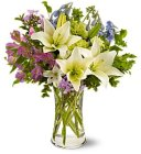 Edmonton Florist, Lilies, Solidago , Alstromeria, Greens, Wax & Bottons, Willow in Vase/A204