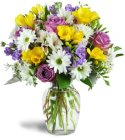Edmonton Florist,  Roses, Daisy, Solidago, Buttons, tuilps in vase/T-02