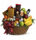 Edmonton Florist, Basket filled with ,Fruits, Sausage, Chocolates, Ginger bread , Wafers, Nuts,Cookies /802