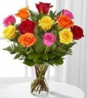Edmonton Florist, Multi Colour Roses, Misty ,Greens in Vase/F-03