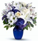 Edmonton Florist, Blue Gentle thoughts Vase arrangement/D-02