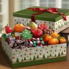 Edmonton Florist, Holiday Box -Fruits,Belgian Wafers,Ginger Bread Hearts,Toffife,Swiss Chocolate/410