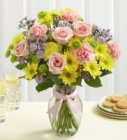 Edmonton Florist, Birthday Flowers -Roses, Sprays, Buttons, Solidago, Misty,Aster, & more in Vase/E302