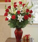 Edmonton Florist, X-Large fragrant Holiday vase with roses, lilies, snaps, greens, bow, cones & ornaments/423
