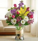 Edmonton Florist,  Vase arangment in rainbow of colors- Large/SH-04
