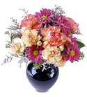 Edmonton Florist, Daisies, Carnations, Misty Blue, Greens in Vase/022