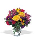 Edmonton Florist, Roses, buttons, Daisies,Wax flower, Solidago, Minis, Greens in Vase/018
