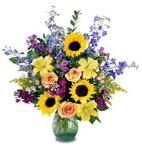 Edmonton Florist, Delivery of Spring & Sunshine -Sunflowers, roses, lily, greens, vase/065