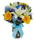 Edmonton Florist, Lilies, Roses, Solidago,Daisy,Bow in Vase/048