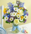 Edmonton Florist, Long Lasting Baby Boy Flower Selection in Vase/050