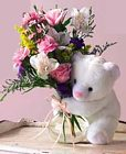 Edmonton Florist, Bud vase full of Flowers & Teddy/080