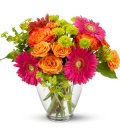 Edmonton Florist, Gerbera Daisy, Buttons, Roses and Greens in Vase/090