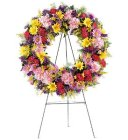 Edmonton Florist,  Sympathy Wreath with Large veriety of Flowers with stand/098