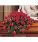 Edmonton Florist,  Casket Spray Full of 50 Roses & greens/099