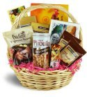 Edmonton Florist, Gift Basket with Goodies - Cookies, Waffers, Chocolate Bar, Peanuts, Pretzels,Toffiffe, & more/042